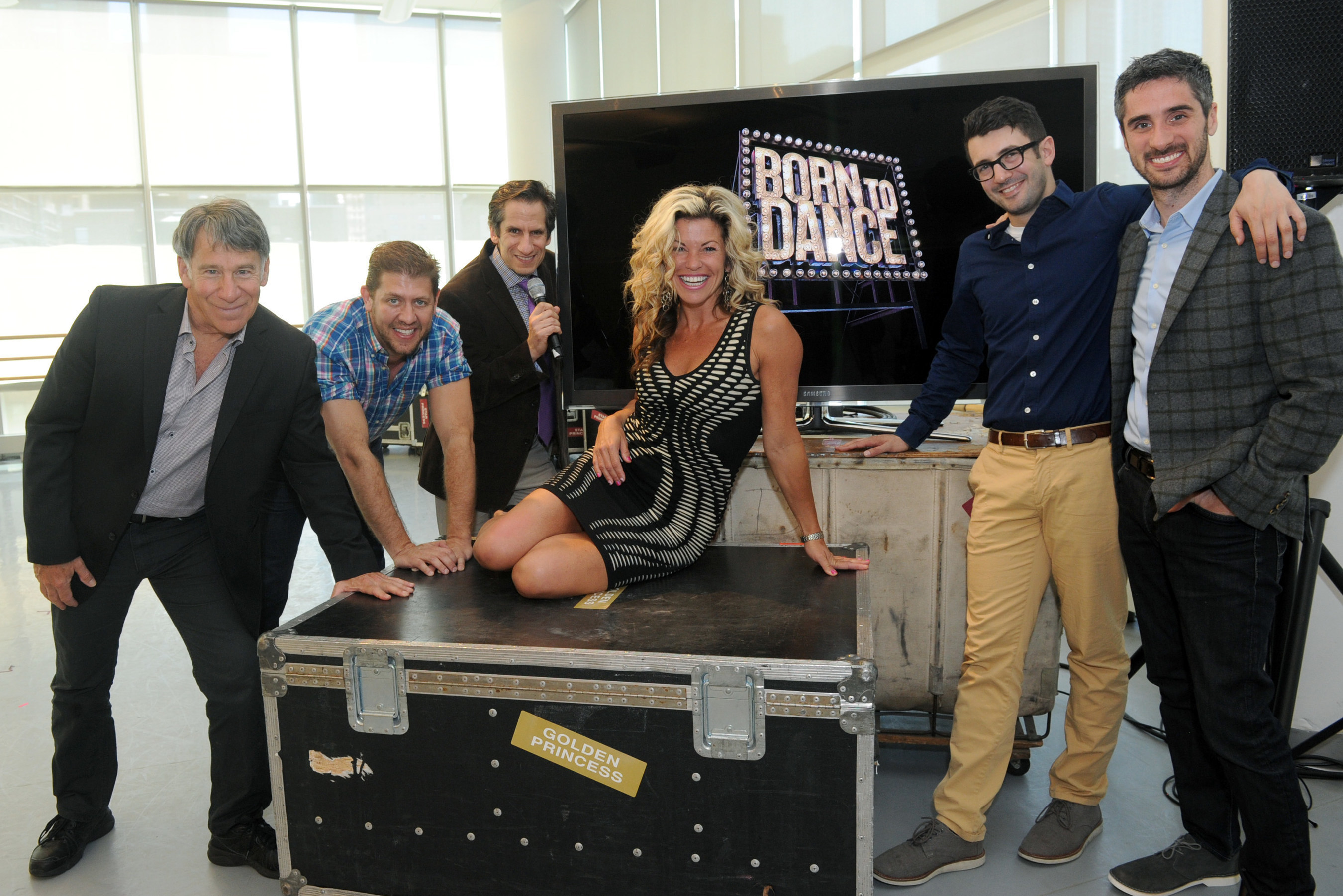 """The """"Born to Dance"""" creative team, Stephen Schwartz, Daniel C. Levine (far left) with Al Blackstone and Bryan Perri (far right) were joined by professional dancer Rachelle Rak and Sirius XM """"On Broadway"""" radio host Seth Rudetsky (center) at the preview for the newest musical production by Princess Cruises, Thursday, June 9, 2016, in New York."""