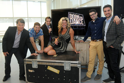 "The ""Born to Dance"" creative team, Stephen Schwartz, Daniel C. Levine (far left) with Al Blackstone and Bryan Perri (far right) were joined by professional dancer Rachelle Rak and Sirius XM ""On Broadway"" radio host Seth Rudetsky (center) at the preview for the newest musical production by Princess Cruises, Thursday, June 9, 2016, in New York."
