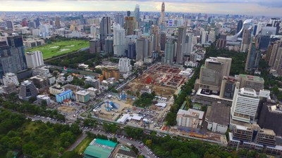 The Langsuan Village site under construction. One of the largest mixed-use developments in Bangkok, Thailand, Langsuan Village will use 54 Otis elevators and escalators in its six towers.