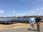 Dr. Franklin Chang (CEO of Ad Astra, former astronaut) and Luis Guillermo Solis (President of Costa Rica) with JinkoSolar modules
