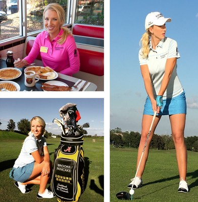 Upper Left: Brooke enjoys her favorite Waffle House meal; Lower Left: Brooke is all smiles about Waffle House sponsoring her golf bag; Right: Brooke gearing up for the 2016 season.