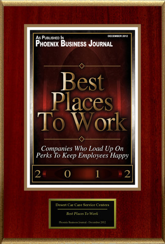 "Desert Car Care Service Centers Selected For ""Best Places To Work"".  (PRNewsFoto/Desert Car Care Service Centers)"