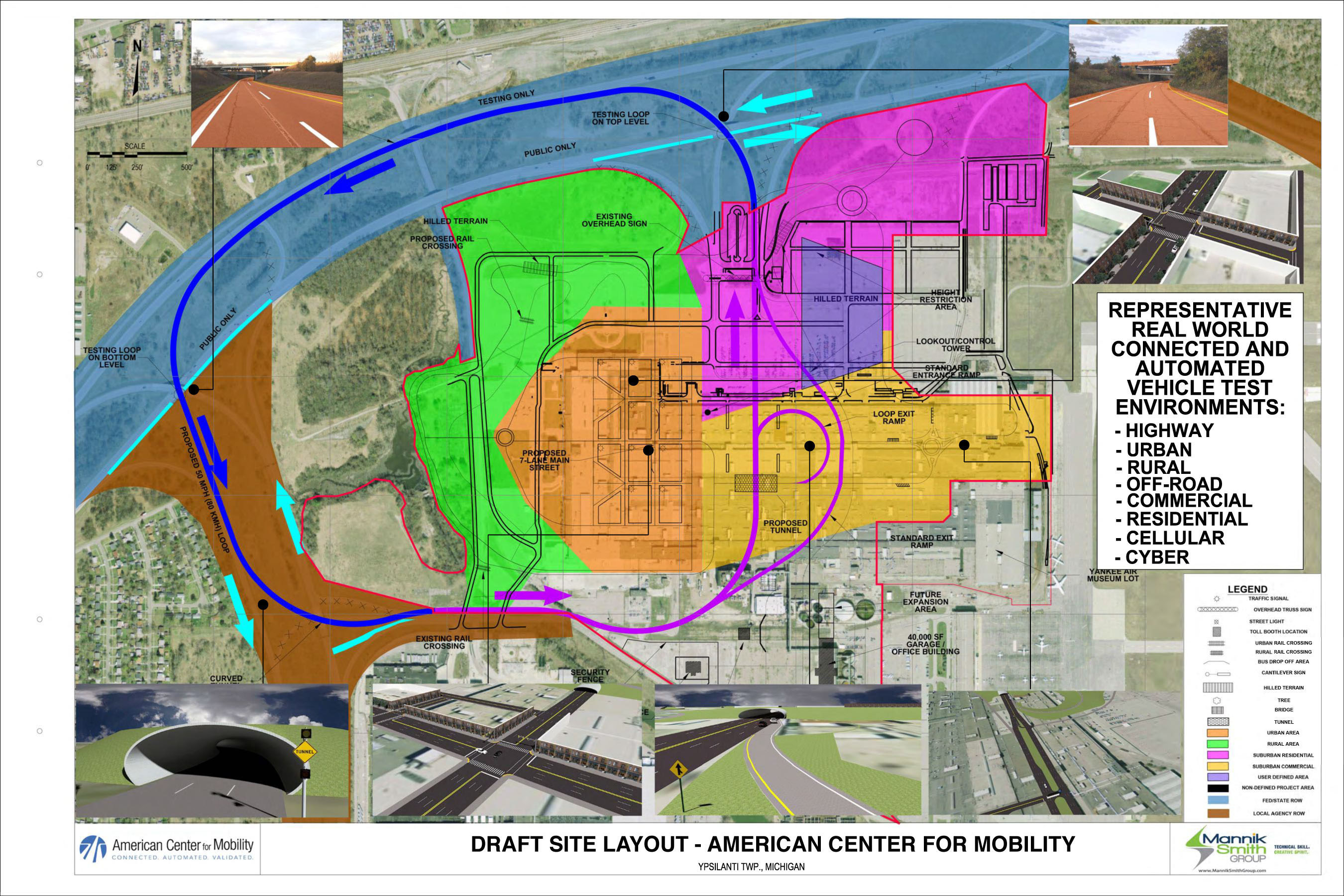 The 335-acre historic Willow Run site in Ypsilanti Township, Michigan will be converted into state-of-the-art proving grounds and convening center for connected, automated vehicles and future mobility.  The site will be designed with real-world elements necessary for vehicle testing in various environmental settings.