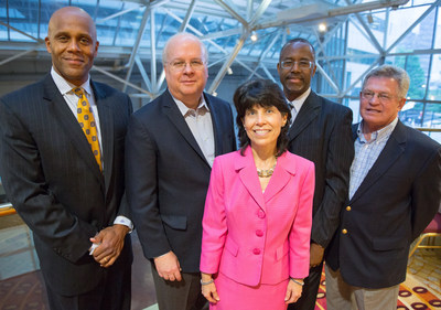 (L-R) Nicholas Beamon, Karl Rove, Cynthia Mills, Benjamin Carson, Sr., M.D., and CAGC Chair of the Board Cleve Paul (PRNewsFoto/Carolinas AGC)
