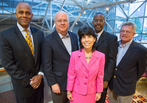 (L-R) Nicholas Beamon, Karl Rove, Cynthia Mills, Benjamin Carson, Sr., M.D., and CAGC Chair of the Board Cleve ...
