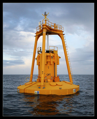 Wave power uses special buoys that use the rising and falling of ocean waves to generate electricity. (PRNewsFoto/Lockheed Martin) (PRNewsFoto/LOCKHEED MARTIN)