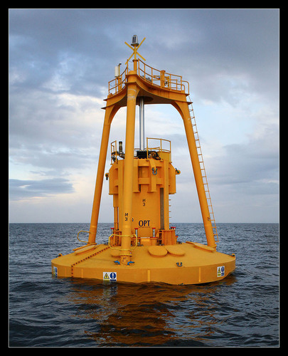 Wave power uses special buoys that use the rising and falling of ocean waves to generate electricity. (PRNewsFoto/Lockheed Martin)