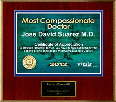 Patients Honor Dr. Jose David Suarez M.D. for Compassion.  (PRNewsFoto/American Registry)