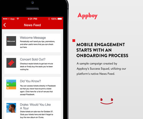 A mobile engagement campaign using Appboy's News Feed. The MRM platform announces today it has raised $7.6MM in Series A financing. (PRNewsFoto/Appboy) (PRNewsFoto/APPBOY)