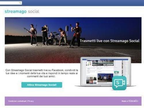 Streamago Social THE APP FOR LIVE STREAMING ON FACEBOOK (PRNewsFoto/Tiscali)