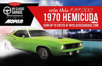 MyClassicGarage.com members who claim their virtual garage for free are entered into the 1970 Hemicuda Giveaway.  (PRNewsFoto/MyClassicGarage.com)