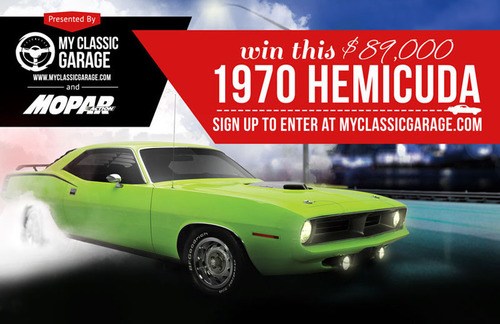 MyClassicGarage.com members who claim their virtual garage for free are entered into the 1970 Hemicuda ...