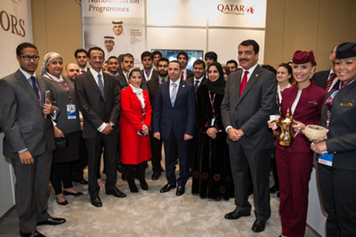 Qatari Ambassodor His Excellency Mohamed Bin Abdulla Al-Rumaihi is joined by students of Qatar Airways National Scholarship Program. (PRNewsFoto/Qatar Airways) (PRNewsFoto/QATAR AIRWAYS)