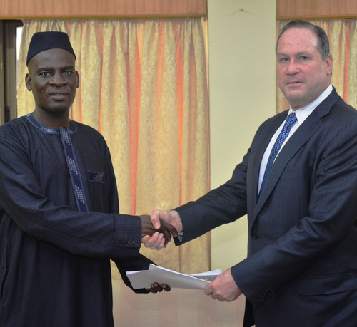 Ghana Trade Minister Iddrisu and Blumberg Grain Chairman and CEO, Philip Blumberg, at signing ceremony.   ...