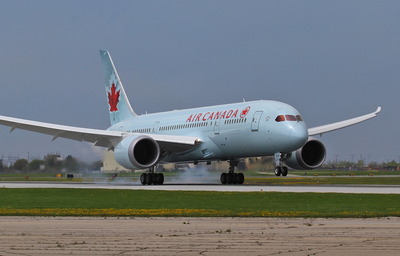 Flight AC7008, Air Canada's first 787 Dreamliner, lands at Toronto's Pearson Airport, Sunday, May 18, 2014. (PRNewsFoto/Air Canada)