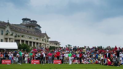Tiger, Rory and Guan Skill Challenge in front of 120 Juniors at Mission Hills Haikou. (PRNewsFoto/Mission Hills China) (PRNewsFoto/MISSION HILLS CHINA)