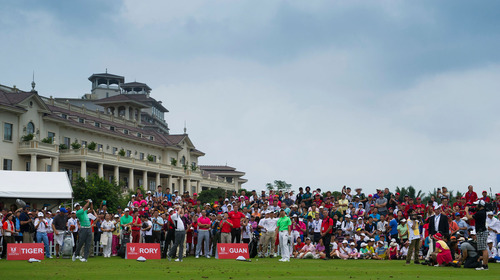 Tiger, Rory and Guan Skill Challenge in front of 120 Juniors at Mission Hills Haikou.  (PRNewsFoto/Mission Hills China)