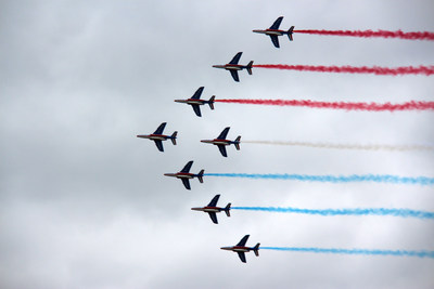 French jets fly in formation during the 2013 Paris Air Show. Raytheon is bringing the latest in its defense and aerospace technology to the international aviation and aerospace event, which draws businesses and enthusiasts from all over the world.