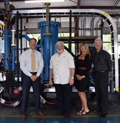 From left to right: Ermanno Santilli CEO, Senator Jack Latvala, Luisa Ingargiola CFO and Bob Dingess Chairman standing in front of the new Venturi Unit. (PRNewsFoto/MagneGas Corporation)