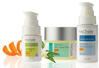 This week, national beauty brand MyChelle announces two advanced additions to its Perfect C(TM) system: Perfect C(TM) PRO Speed Peel and Perfect C(TM) Radiance Lotion. The most effective type of Vitamin C, L-Ascorbic Acid is the only active form available for use in skin care. This multi-tasking and transformative ingredient is also the only antioxidant able to enhance skin's natural renewal process; protect against environmental damage; and help reduce the appearance of dark spots and post-blemish discoloration. Learn more at www.mychelle.com
