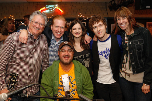 "(L-R) Richie Furay, SoundExchange President & CEO Michael Huppe, Vince Gill, and Striking Matches at the inaugural ""SoundExchange Influencers Series"" at The Bluebird Cafe in Nashville, Tenn. (PRNewsFoto/SoundExchange)"