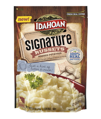 New Idahoan Signature Russets Mashed Potatoes come in a 9.74 ounce and 16.23 ounce resealable pouch and are available at grocers nationwide; For more information, visit www.idahoan.com and follow Idahoan Foods on Facebook and Twitter.