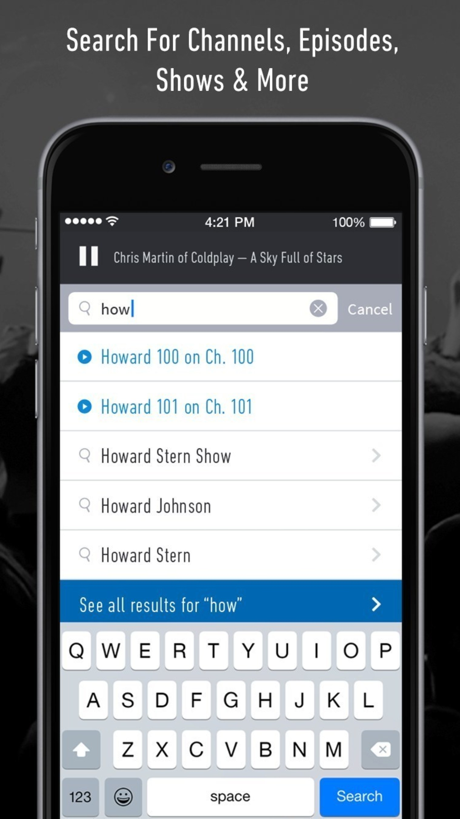 SiriusXM: Search for Channels, Episodes, Shows, and More