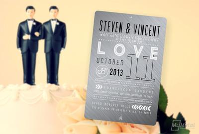 MyMetalBusinessCard.com introduces Metal Wedding Invites for same sex couples.  (PRNewsFoto/MyMetalBusinessCard.com)