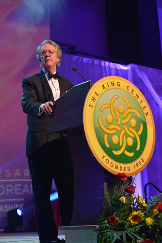 """Aflac Chairman and CEO Dan Amos accepts the prestigious """"Salute to Greatness"""" award from the Dr. Martin  ..."""
