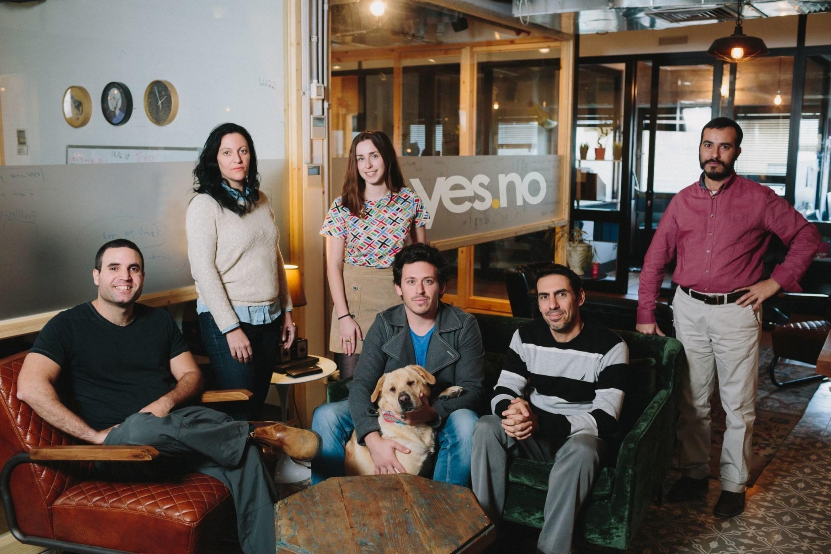 yes.no team. In the photo (left to right): Sella Rafaeli, Dikla Sinai, Mia Rafalowicz-Campbell, Jonathan Doron, Assaf Levy, Shmuel Abuhav & Lenny the dog. Photo credit: Mindspace. (PRNewsFoto/yes.no) (PRNewsFoto/yes.no)