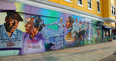 In Philadelphia, every wall is a potential blank canvas, and stunning murals adorn building exteriors all over the city. Begun in 1984 to help eradicate graffiti, the Mural Arts Program enables professional artists and young Philadelphians to showcase their artistic talent in a constructive way. To date, the program has produced more than 3,600 murals, such as this one in the city's Latino neighborhood, El Centro de Oro. Interested visitors can view several of these works on a variety walking, biking and trolley tours. Credit: Photo by K.Ciappa for GPTMC. (PRNewsFoto/Greater Philadelphia Tourism Marketing Corporation) (PRNewsFoto/GREATER PHILADELPHIA TOURISM...)