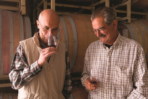 Aubert de Villaine and Larry Hyde in the winery.  (PRNewsFoto/Wilson Daniels)