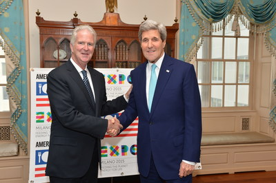Secretary Kerry Shakes Hands with New Commissioner General for the USA Pavilion at the Milan Expo 2015