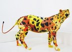 Gilles Cenazandotti (B. 1966 - ) Leopard, 2016, Sculpture with Objects Lost and Found from the Sea, 32 x 62 x 16 inches