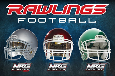 Rawlings Sporting Goods Company, Inc., received 4- and 5-Star ratings for all three of its adult-sized football helmets (from left to right): Rawlings NRG Quantum Plus(TM), Rawlings NRG Quantum(TM) and Rawlings NRG Impulse(TM).  (PRNewsFoto/Rawlings Sporting Goods Company, Inc.)