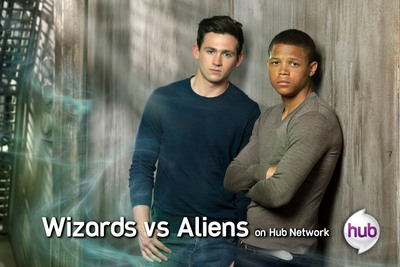 "Scott Haran and Percelle Ascott, Stars of ""Wizards vs Aliens,"" Premiering June 1 on Hub Network.  (PRNewsFoto/Hub Network)"