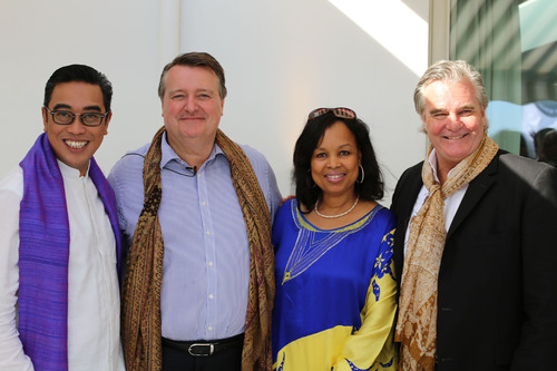 "L to R: Mr. Ludy Suryantoro, MARITAGE Advisor & Author of ""A Shawl for All Women"" concept; John Cahill, Global CEO McCann Health; H.E. Mrs. Coumba Toure, MARITAGE Chair & Founder Advanced Development for Africa; Jeremy Perrott, Global Chief Creative Officer McCann Health.  (PRNewsFoto/McCann Health)"