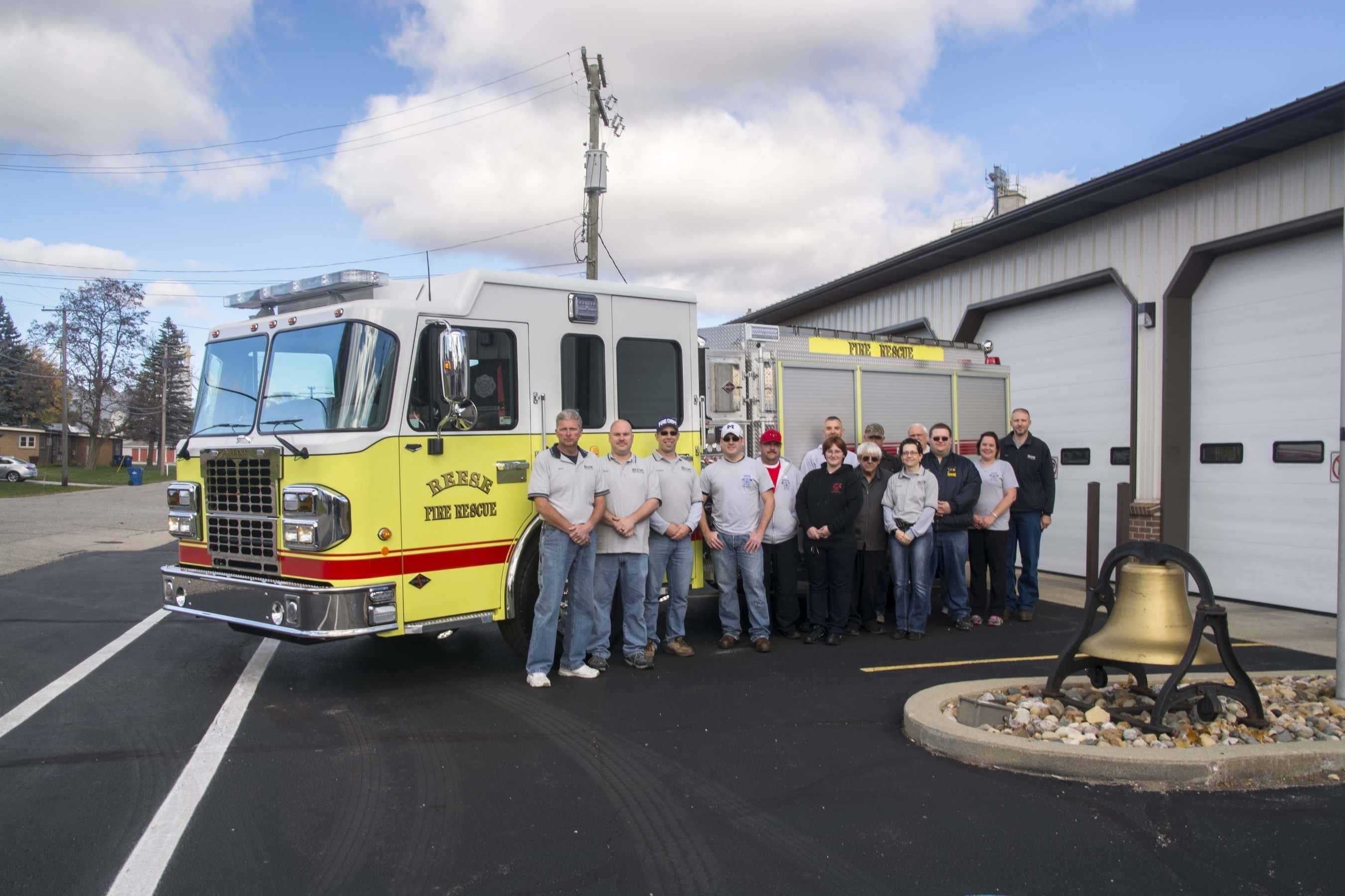 Reese Fire Department members gather around the S-180 Pumper, which represents a new era of access and availability for fire departments.