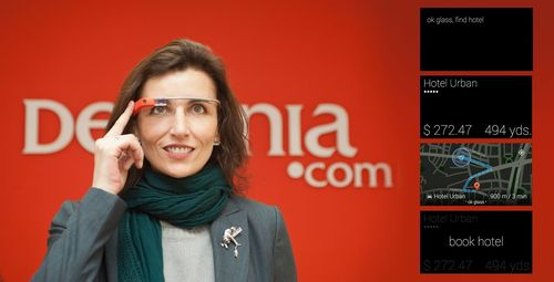 The app developed by Destinia for Google Glass allows users to find and book a hotel (PRNewsFoto/Destinia)