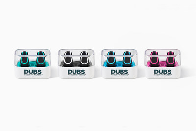 Available in four colors, DUBS Acoustic Filters are advanced tech earplugs that reduce volume and protect your ears without sacrificing sound fidelity, style or comfort. (PRNewsFoto/Doppler Labs)