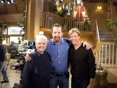 """Actress Susan Flannery, LCFA advocate Dr. Michael Weitz and actor Jack Wagner on the set of CBS' """"The Bold and The Beautiful."""" Photo by Rachel Schwartz/PR AdvantEDGE Inc. (PRNewsFoto/LCFA)"""