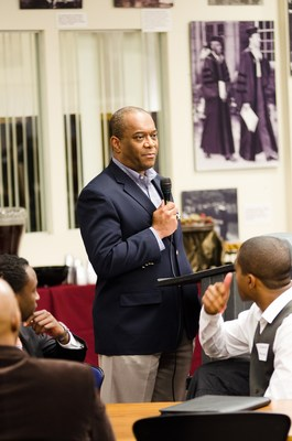 Rock Anderson, Cox Automotive's SVP and chief people officer, shares career readiness tips with college students through the 100 Black Men of America's C100 program.