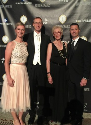 Accepting the Silver Edison Award at the Edison Awards Gala in New York on April 21, 2016 on behalf of FoldedColor Packaging were (L-R) Jackie Steiner, co-owner; Macy Steiner, creator; Jan Steiner, president and CEO; and Patrick Green, director of business development.