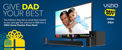 """VIZIO Contest Allows Sons and Daughters the Chance to Win Dad A VIZIO Home Theater Prize Package and Tickets to Premiere of DreamWorks Animation's """"Turbo.""""  (PRNewsFoto/VIZIO, Inc.)"""