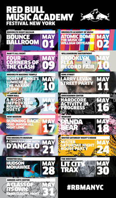 Red Bull Music Academy Festival New York Announces Artists, Venues, and Dates for Month-Long Music Series Being Held May 1-31. (PRNewsFoto/Red Bull Music Academy) (PRNewsFoto/RED BULL MUSIC ACADEMY)