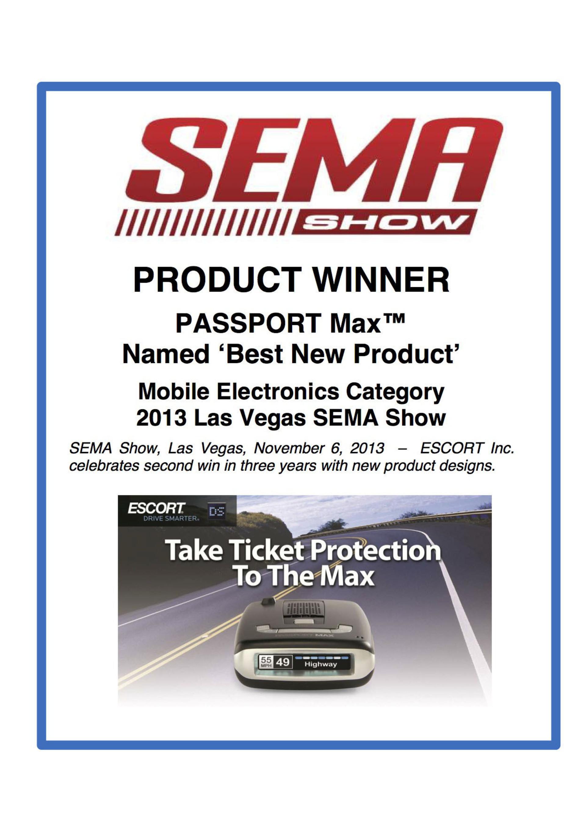 SEMA Show 'Best New Product' Award.  (PRNewsFoto/ESCORT Inc.)