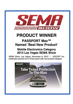 SEMA Show 'Best New Product' Award.  (PRNewsFoto/ESCORT Inc.)