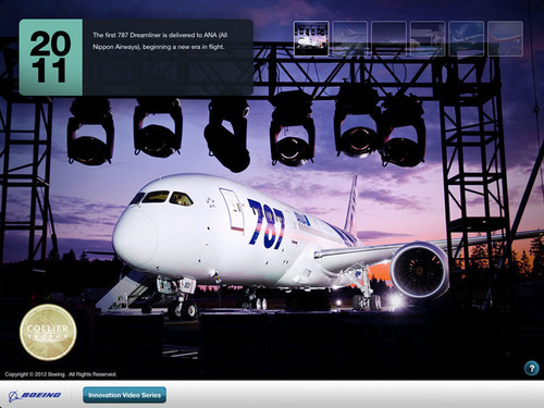 The Boeing 787, winner of the 2011 Collier Trophy for aviation excellence, as depicted in the company's Milestones in Innovation app for iPad. The app was released May 7.  (PRNewsFoto/Boeing)