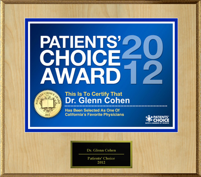 Dr. Cohen of Westlake Village, CA has been named a Patients' Choice Award Winner for 2012.  (PRNewsFoto/American Registry)