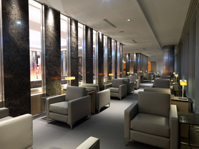 Air Canada's newest Maple Leaf Lounge at Frankfurt Airport showcases Ontario Eramosa marble, Canadian-designed furniture and artwork.  (PRNewsFoto/Air Canada)